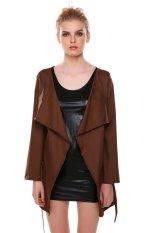Astar Women Ladies Design Belted Long Sleeve Coat Jacket (Khaki) ϼ