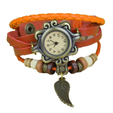Astar Women's Synthetic Leather Hand Band Bracelet Quartz-Watch Wrist Watch (Orange) (Intl)