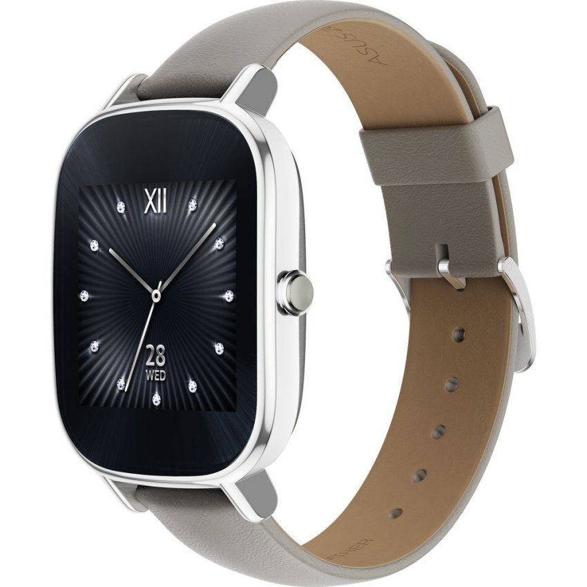 Asus - WI502Q ZenWatch 2 1.45-inch - Silver/Leather Khaki