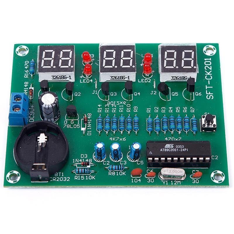 AT89C2051 6 Digit LED Electronic Clock Parts Digital Clock Module