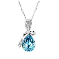 Austrian Crystal Lake BlueAngel Tears Drop Pendant Necklaces