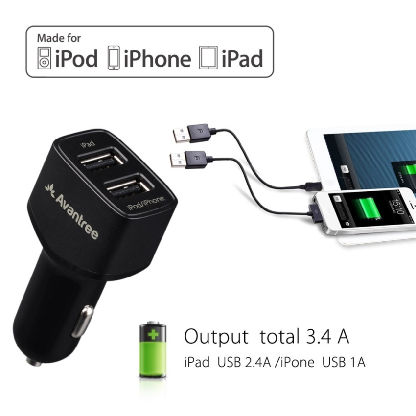 Avantree Apple Certified Car Charger Kit CGST-22 (3.4A) - Hitam