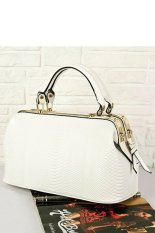 Azone High Quality Crocodile Pattern Women Synthetic Leather Handbag Shoulder Purse Tote Doctor Bag (White)
