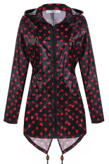 Azone Meaneor Women Girls Dot Raincoat Fishtail Hooded Print Jacket Rain Coat (Black And Red)