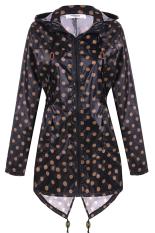 AZONE Meaneor Women Girls Dot Raincoat Fishtail Hooded Print Jacket Rain Coat (Black) (Intl)