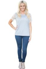 Azone Short Lace Sleeve Women Casual T-shirt Summer Tops Blouse (Grey) (Intl)