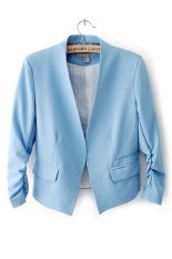 Azone Women OL Style Candy Color Thin Suit Outerwear 3/4 Sleeve Coat Casual Blazer Blue - Intl