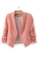 Azone Women OL Style Candy Color Thin Suit Outerwear 3/4 Sleeve Coat Casual Blazer (Pink)