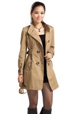 Azone Women's Slim Double-Breasted Long Sleeve Coat Long Jackets (Brown) (Intl)