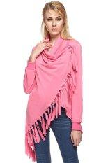 AZONE ZEAGOO Fashion Lady Women's Folded Collar Long Sleeve Tassels Irregular Tops Long T-shirt (Red) - Intl