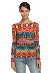 AZONE Zeagoo Women Casual Long Sleeve Round Neck Backless Floral Print T-shirt Tops (Red) (Intl)