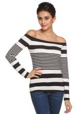 Azone Zeagoo Women Lady Long Sleeve Off Shoulder Stripe Slim Top Casual T-Shirt (Black + White) (Intl)