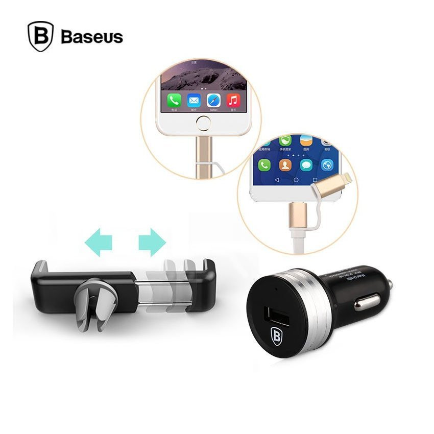 Baseus 3 in 1 Series Duo Lightning Micro USB Cable + Car Charger + Air Vent Mount - Black