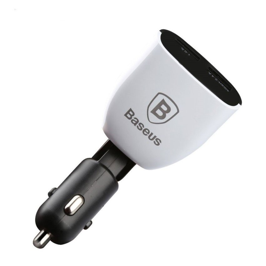 Baseus Smart Series Car Charger Dual USB with LCD Display 3.4A - Putih