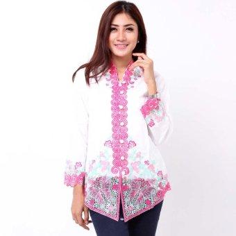 Batik Distro BA6667 Kebaya Wanita Renda Panjang - Putih | Lazada ...
