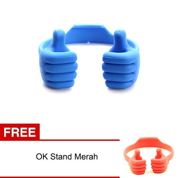 Bazel OK Stand For Smartphone, Ipad, Tablet Android Biru + Gratis OK Stand