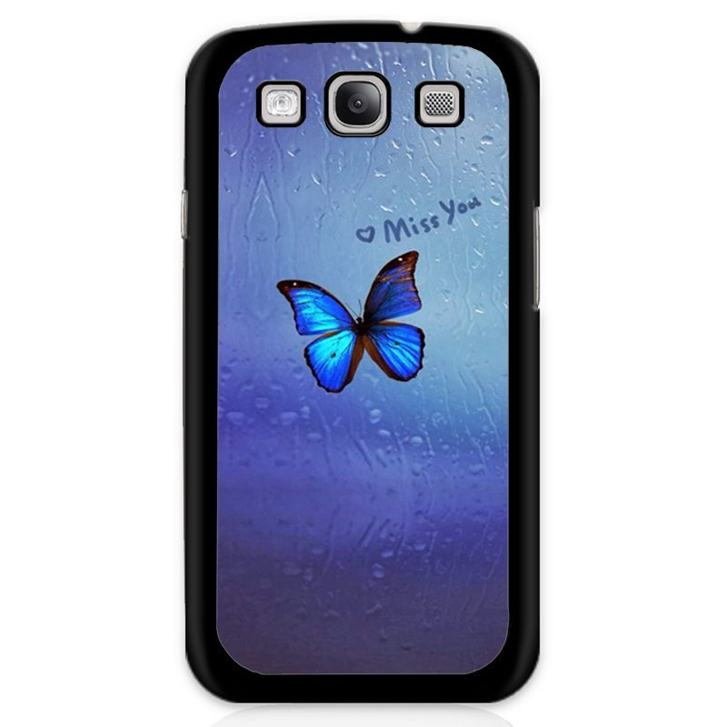 Beautiful Blue Butterfly Printed Phone Case for Samsung Galaxy S3 (Black)
