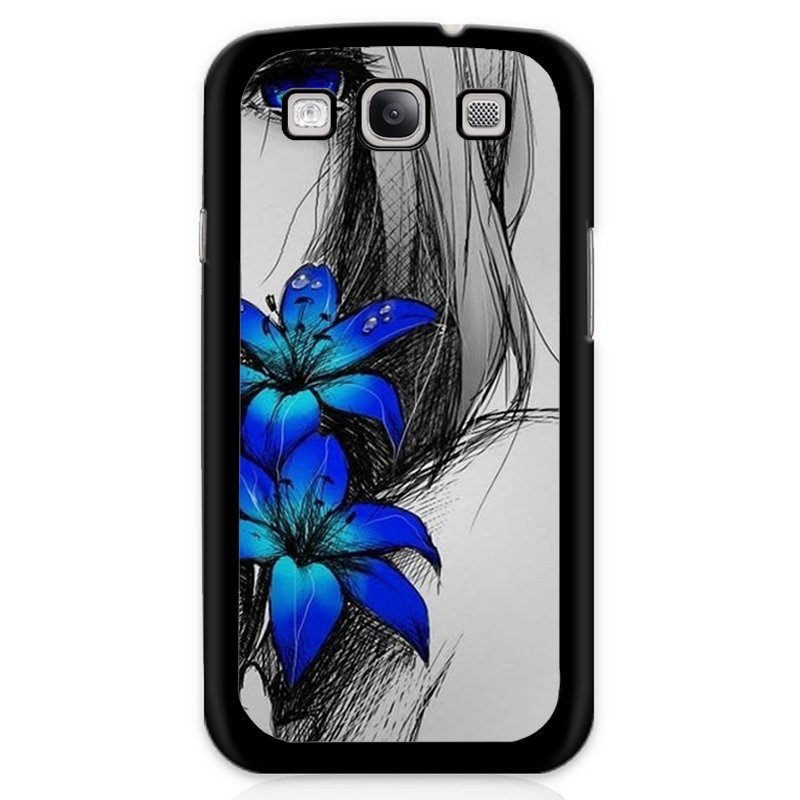 Beautiful Blue Flower Printed Phone Case for Samsung Galaxy S3 (Black)