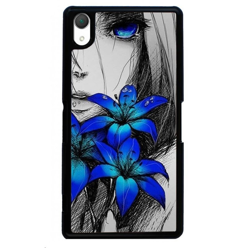 Beautiful Blue Flower Printed Phone Case for SONY Xperia Z4 (Black)