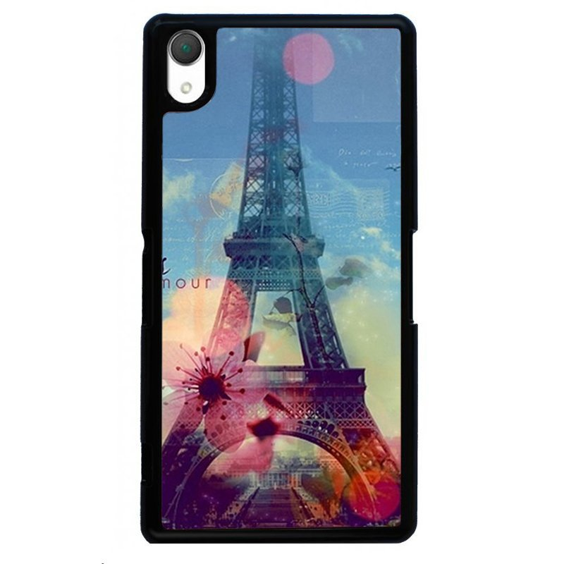Beautiful Eiffel Tower Painting Phone Case for SONY Xperia Z3 (Black)