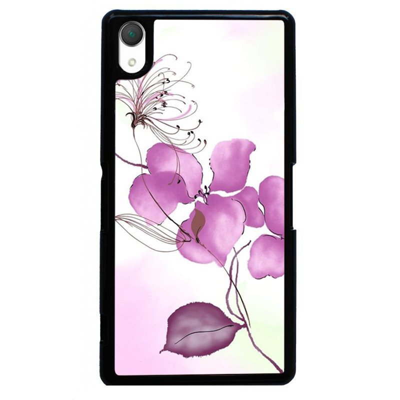 Beautiful Flower Printed Phone Case for SONY Xperia Z3 (Black)