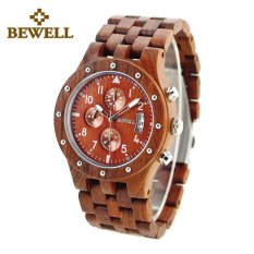 BEWELL Handmade Men Wood Watch Luxury Natual High Quality Sandalwood Male Six-hands Watches 109D (Red)