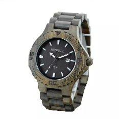 BEWELL Men Auto Date Big Dial Handmade Maple Wooden Watches Black Color Wood Watch - Intl