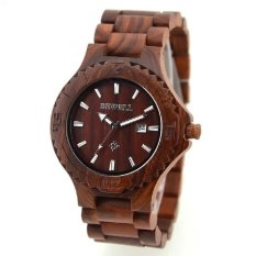 BEWELL Men Auto Date Big Dial Handmade Maple Wooden Watches Red Color Wood Watch - Intl