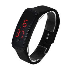 Bigskyie Fashion Ultra Thin Girl Men Sports Silicone Digital LED Sports Wrist Watch Black