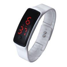 Bigskyie Fashion Ultra Thin Girl Men Sports Silicone Digital LED Sports Wrist Watch White