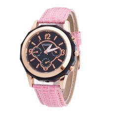 Bigskyie Luxury Brand Women Watches Leather Band Analog Quartz Wrist Watch Pink Free Shipping