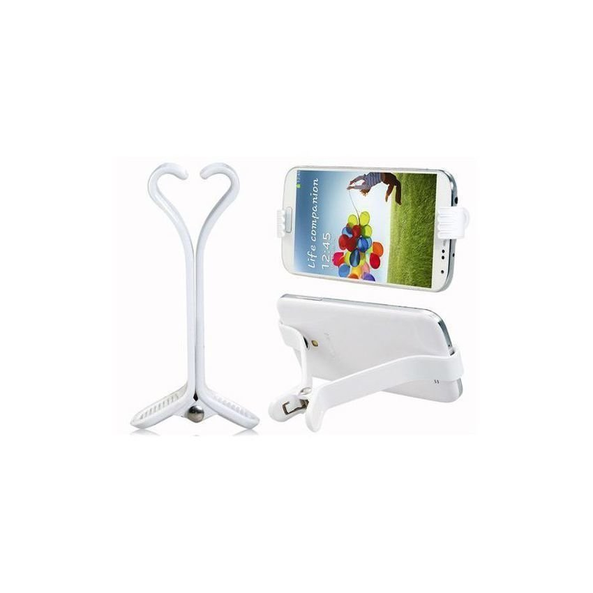 BL 2032 Hair Pin Shaped Mini Plastic Phone Stand Holder (White)