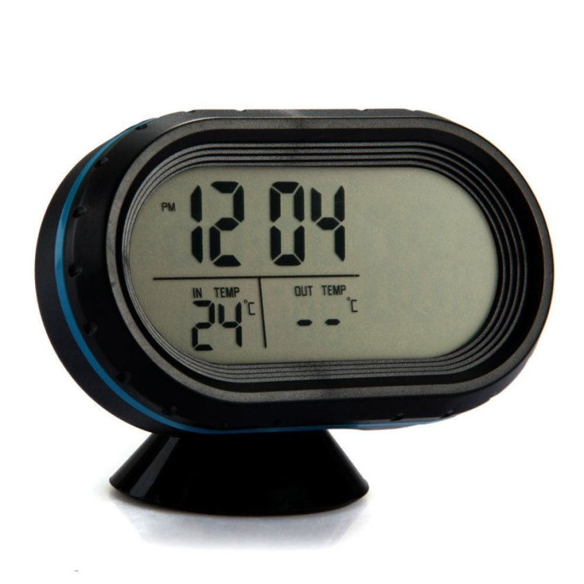 Black + Blue Edge Car Backlight LCD Clock Voltmeter Thermometer Voltage Meter (Intl)
