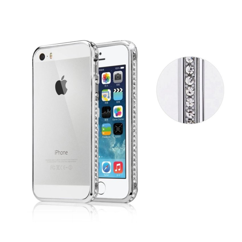 Bling Glitter Crystal Rhinestone Diamond Metal Bumper Case Cover Cover for Apple Iphone 5 5s (Intl)