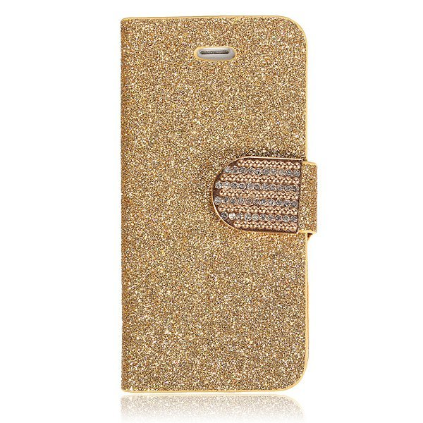 Bling Leather Cover for iPhone 5C Gold
