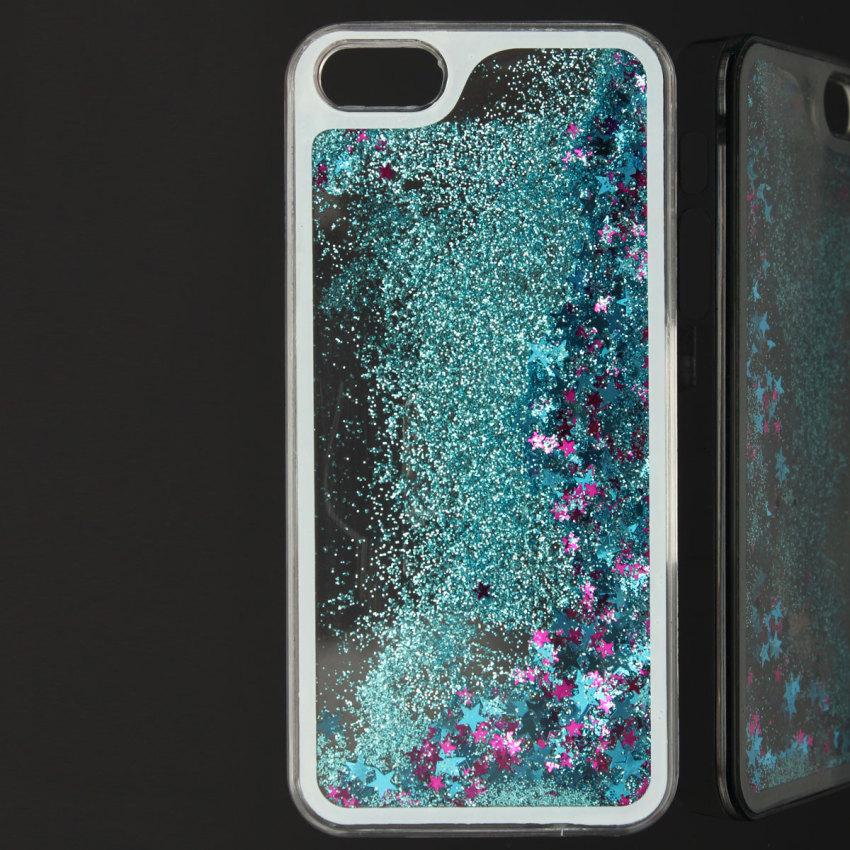 Bling Liquide Paillettes Etoiles Coque Housse Etui Cover pour iPhone 5 5S 6 Plus Blue (Intl)