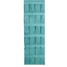 Blue 24 Pocket Over The Door Hanging Tidy Organiser Storage Rack / Over Door Storage Unit Shoe Organizer Pockets Door Tidy Space Saving