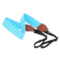 Blue And White Universal Adjustable DSLR Camera Shoulder Neck Strap Belt Soft Cotton Polka Dots With Harness Adapter For Nikon Canon Panasonic- Intl