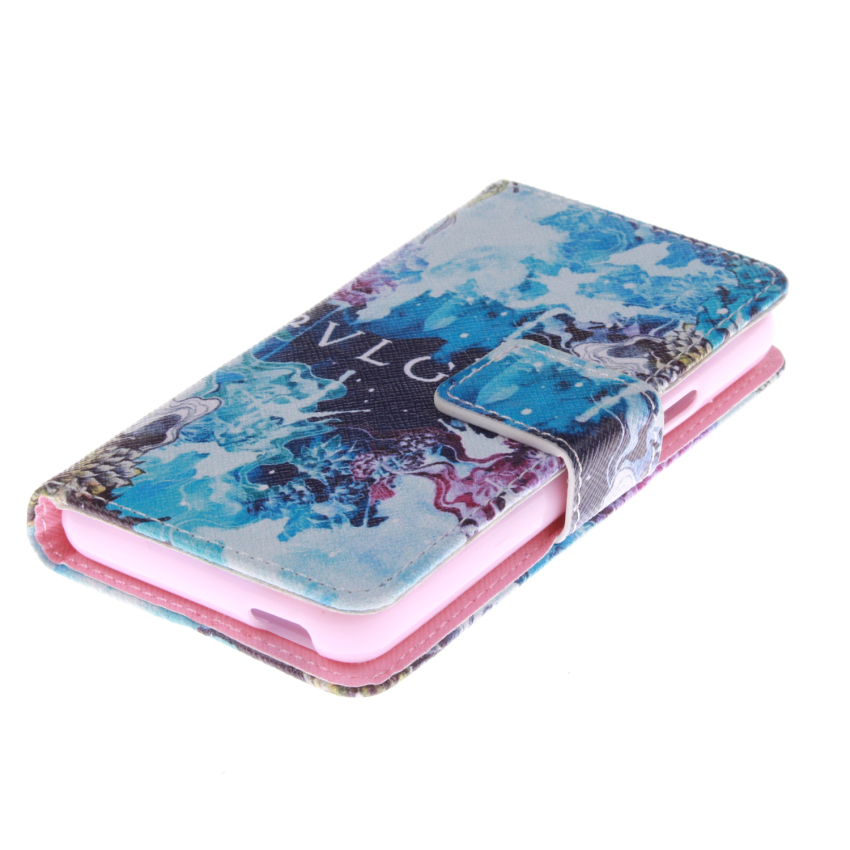 Blue Color Double Painting with Built in Card Slot Filp Leather Cover for Sony Xperia E1 (Multicolor) (Intl)