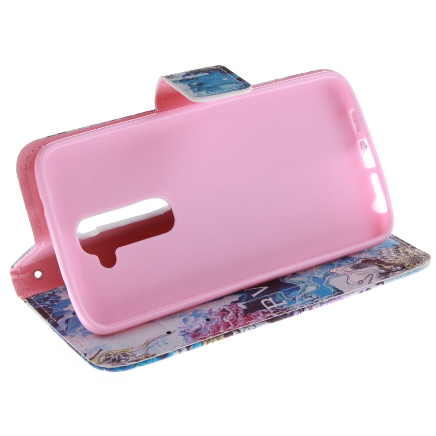 Blue Color Doule Painting Filp Leather Case Built in Card Slot for LG G2 (Multicolor) (Intl)