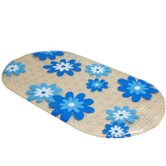 Blue Flowers Non-slip Bathroom Mat Suction Cup Bath Mat Anti-slip Bath Carpet Shower Floor Cushion Rug (Blue Flowers) - INTL