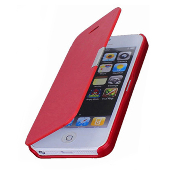 Blue lans Magnetic Flip Leather Case for iPhone 5S (Red)
