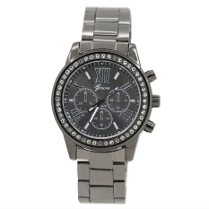 Bluelans Geneva Women's Men's Roman Number Crystal Analog Quartz Wrist Watch Black