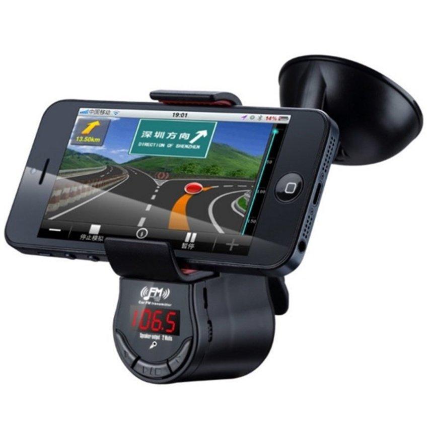 Bluetooth 3 in 1 Handsfree FM Transmitter and Universal Smartphone Holder-Hitam