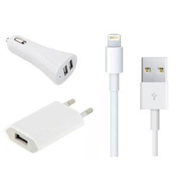 Blz 3 in 1 Car Charger + USB Cable + Adapter Charger for iPhone 5 - Putih