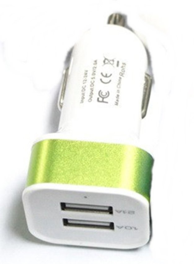 Blz Square Head Dual USB Car Charger 2.1A - Putih / Hijau