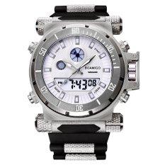BOAMIGO Men Sports Analog Digital Double Display Waterproof Quartz Silicone Band Military Watches White (Intl)
