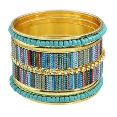 Bohemian Style Colorful Rhinestone Braided Rope Bracelets And Bangles Set - Intl