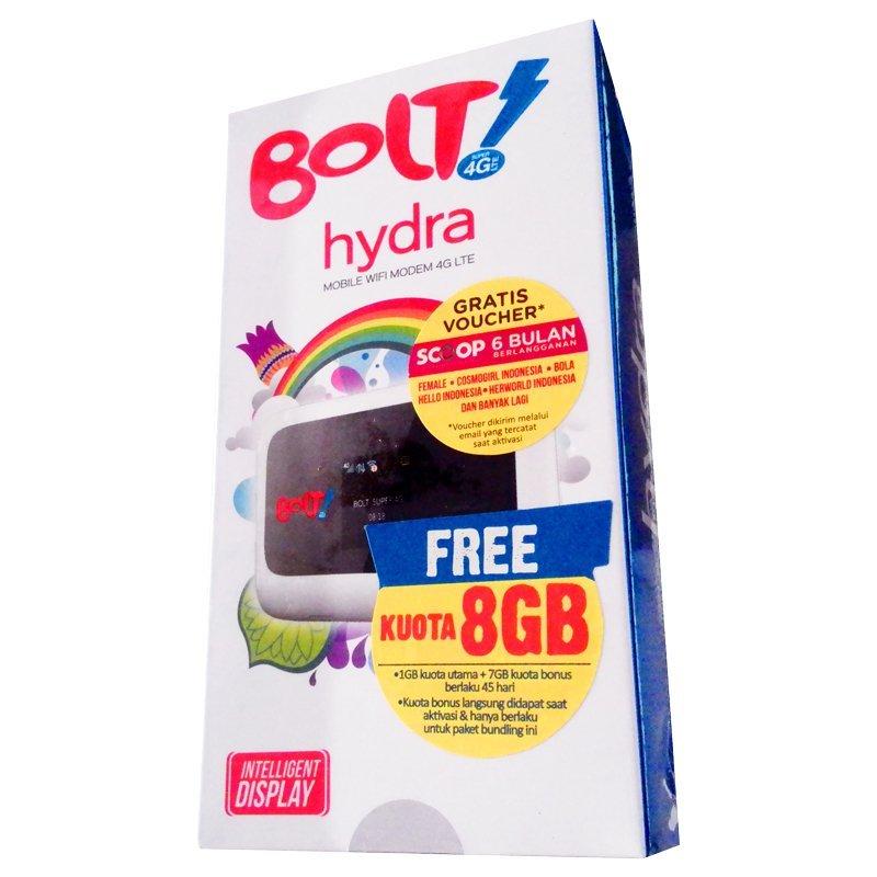 Bolt Modem Hydra ZTE-MF910 Mobile Hotspot Wifi Super 4G LTE 72 Mbps - Putih + Kartu Perdana 8GB