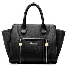 Bostanten Cow Leather Handbag Shoulder Clutch Tote Top-Handle Bag For Women Black (Intl)